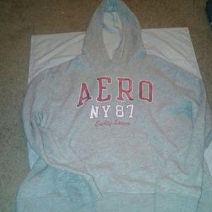 Grey with pink glitter writing aeropostal hoodie